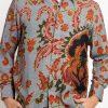 Short sleeves shirt Didesain ethnic dalam motif batik Pointed collar, front button opening Left chest pocket Material : Katun