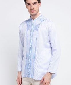 Baju koko lengan panjang Desain trendy dalam Gradasi Arsir Shanghai collar Front button opening Material : Victoria falls