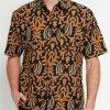 Short sleeves shirt Didesain ethnic dalam motif batik print Pointed collar, hidden button opening Left chest pocket Material : Katun prima